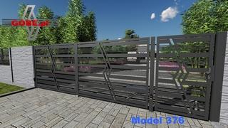 bramy wjazdowe z dużym prześwitem przemieszane profile poziomo szerokie z okrągłymi na przemian