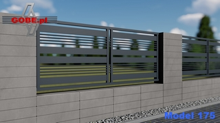 przęsło metalowe antracyt wkomponowane w bloczki betonowe slim beżowe
